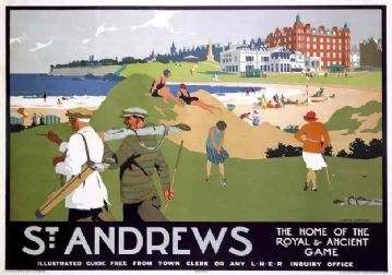 St Andrews, Scotland Golfing Travel Poster, Golf Print, By LNER